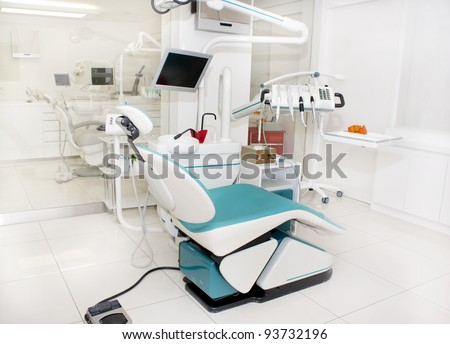 Dental clinic interior design with several working boxes and tools - stock photo