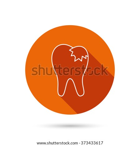 Dental fillings icon. Tooth restoration sign. Round orange web button with shadow. - stock photo