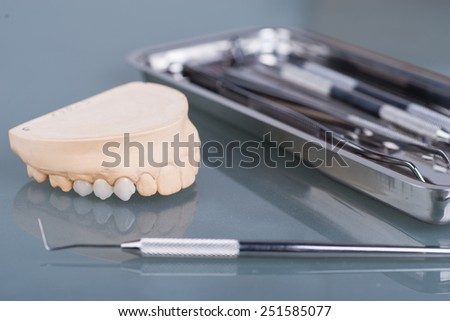 Dental gypsum models in dental laboratory - stock photo