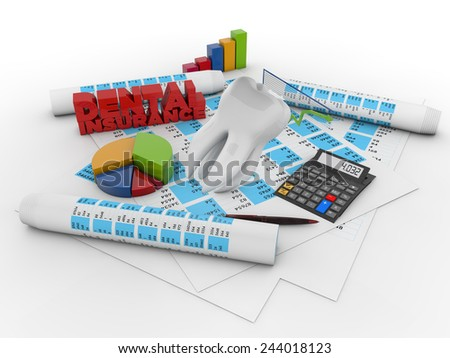 dental insurance accounting concept: tooth over financial stuff isolated on white background - stock photo