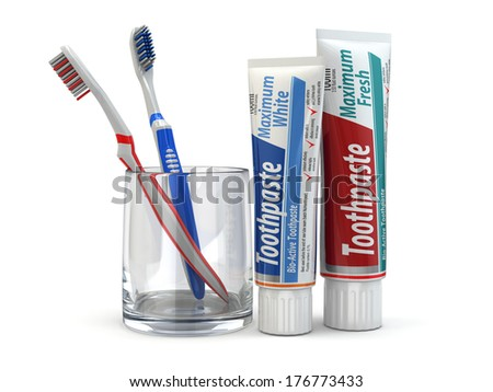 Dental protection, Toothpaste and toothbrushes on white isolated background. 3d - stock photo