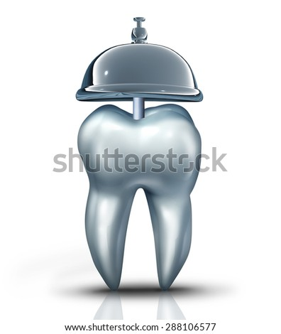 Dental service symbol and dentist services concept as a human molar tooth with a service bell as an icon for dentistry health isurance and professional teeth chekup for oral health and hygiene. - stock photo