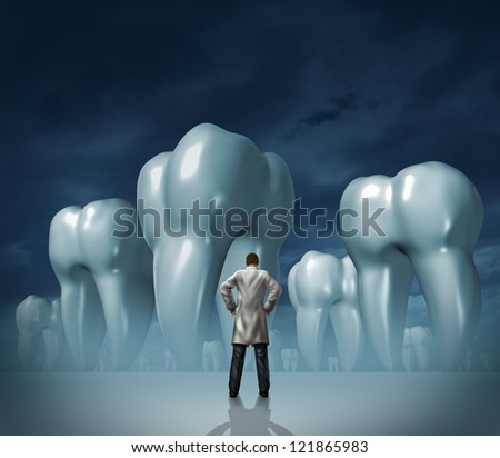 Dentist and dental care medical tooth health symbol of oral hygiene with a professional man in a white lab coat facing giant molar teeth on a dark foggy background. - stock photo