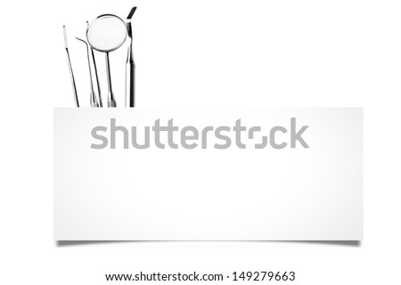dentist tool's with board - stock photo