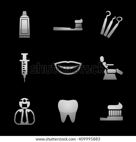 Dentist & Toothcare Icon Set with Silver Icons. Raster Version - stock photo