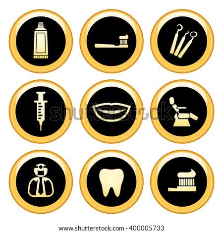 Dentist & Toothcare Icons Gold Icon Set. Raster Version - stock photo