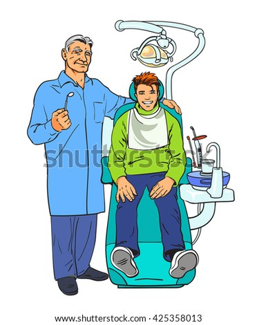Dentist with patient vector sketch drawn by hand, isolated on white background illustration, sketch dentist in a blue robe and a satisfied patient at a dentist's chair - stock photo
