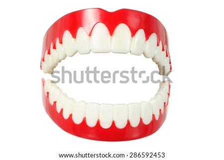 Denture on White Background - stock photo