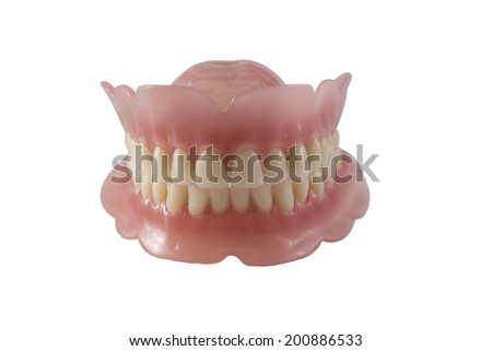 Dentures isolated on a white background. Dental Plate / Dentures - stock photo