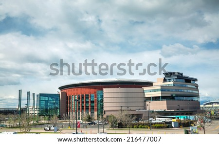 DENVER - April 30, 2014: Pepsi Center on April 30, 2014 in Denver, Colorado. It's a multi-purpose arena in Denver, Colorado, United States and named for its chief corporate sponsor, PepsiCo. - stock photo