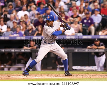 DENVER-AUG 21: New York Mets outfielder Curtis Granderson waits for a pitch during a game against the Colorado Rockies at Coors Field on August 21, 2015 in Denver, Colorado. - stock photo