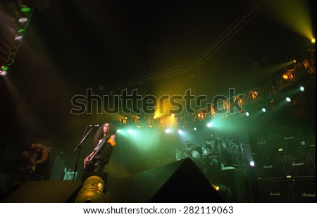 DENVER	AUGUST 8:		Slayer performs August 8, 2001 at the Fillmore Auditorium in Denver, CO.    - stock photo