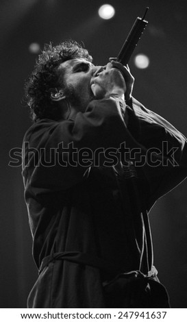 DENVERAUGUST 22:Vocalist Serj Tankian of the Heavy Metal band System of a Down performs in concert August 22, 2002 at the Pepsi Center in Denver, CO.  - stock photo