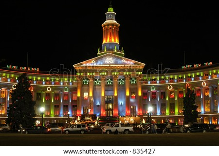 Denver City and County Building lit for Christmas - stock photo