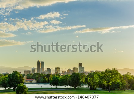 Denver City Park at Sunset and Skyline in Background - stock photo
