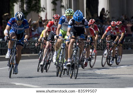 DENVER, CO - AUG 28: Professional cyclists at the 2011 USA Pro Cycling Challenge in Denver, Colorado on Aug 28, 2011 - stock photo