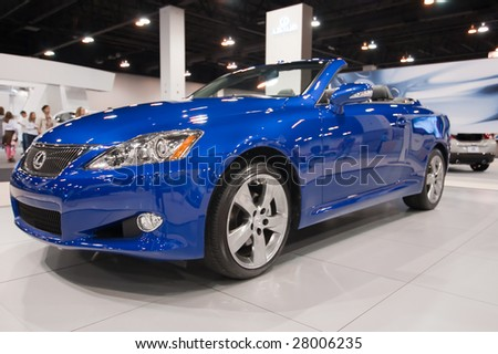 DENVER, COLORADO - APRIL 5 : The 2009 Lexus ISC is featured at the Denver Auto Show April 5, 2009 in Denver, Colorado. More than 20 car manufacturers worldwide display their latest models here. - stock photo