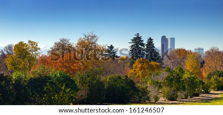 Denver, Colorado - Panoramic view of City Park and downtown skyline in Fall - stock photo