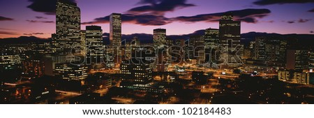 Denver, Colorado skyline at dusk - stock photo