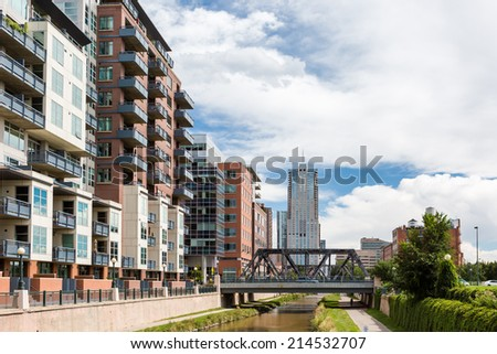 Denver, Colorado, USA-August 31, 2014. Cherry Creek trail on typical summer wekeend. - stock photo