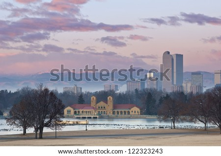 Denver. Image of Denver at sunrise with Rocky Mountains in the background. - stock photo