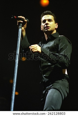 DENVER	NOVEMBER 29:		Vocalist Dave Gahan of tDepeche Mode performs November 29, 1998 at McNichols Arena in Denver, CO.  - stock photo