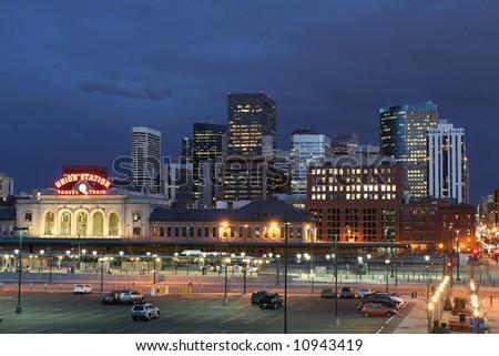 Denver Skyline in Twilight - stock photo