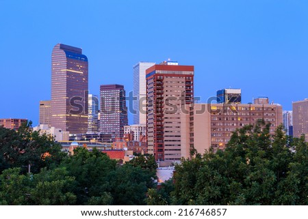 Denver skyline long exposure at twilight. - stock photo