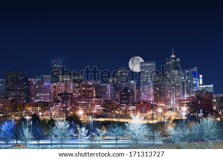 Denver Skyline West Side. Night in Colorado. Downtown Denver with Moon. United States. - stock photo