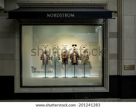 DENVER, USA - JUNE 25, 2014: Detail of the Nordstrom shop in Denver. Nordstrom is an American upscale fashion retailer, founded at 1901. - stock photo