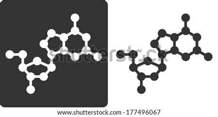 Deoxyguanosine (dG) DNA building block, flat icon style. Oxygen, carbon and nitrogen atoms shown as circles; Hydrogen atoms omitted. - stock photo