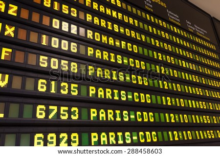 Departure arrival board in an european airport - stock photo