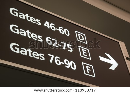 departure gates sign - stock photo