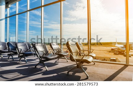 Departure lounge at the airport - stock photo