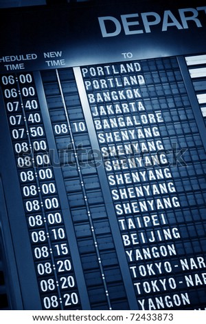 Departure timetable in Changi airport Singapore, Asia - stock photo