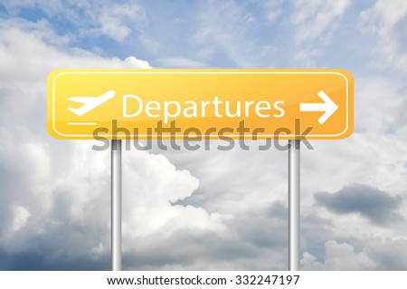 Departures board sign - stock photo