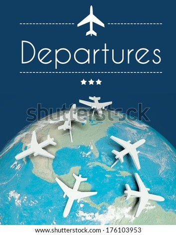 Departures concept, airplanes on globe - stock photo