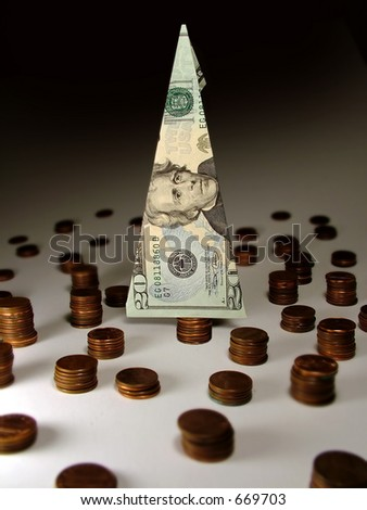Depleted Resources. Cash forest with mostly stumps. - stock photo
