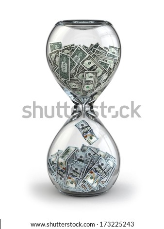 Deposit or investment. Growth of the dollar. Hourglass  3d - stock photo