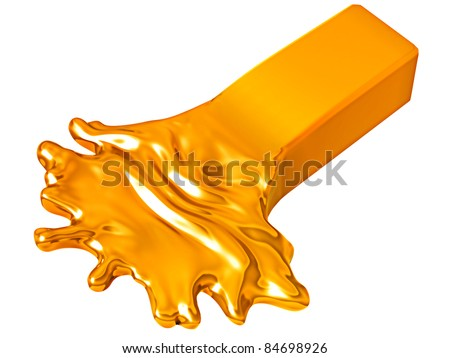 Depreciation: Melting gold bar isolated over white background - stock photo