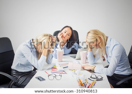 Depressed business women - stock photo