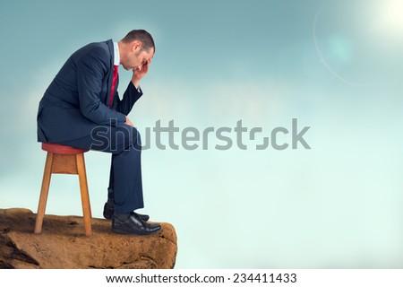 depressed businessman - stock photo