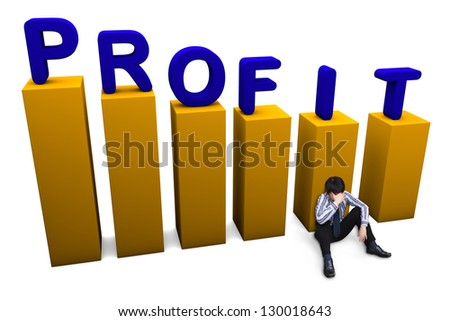 Depressed businessman sitting on the floor. Lost in profit concept - stock photo