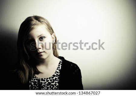 Depressed child - stock photo