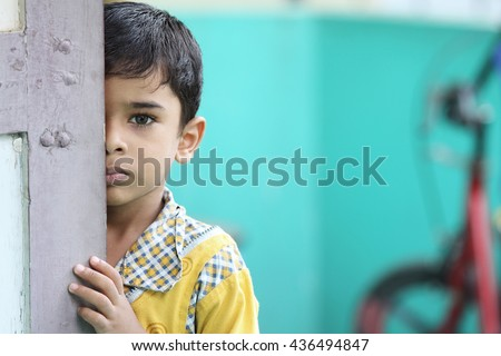 Depressed Indian Little Boy  - stock photo