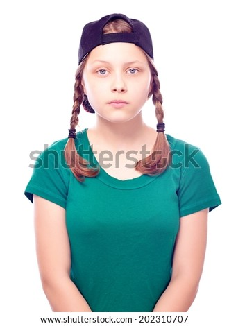 Depressed teen girl in cap, isolated on white - stock photo