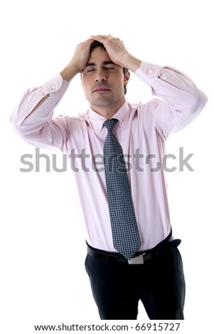 Depressed/Tired Businessman with hands on head - stock photo