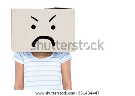 Depressed woman with box over head against white background with vignette - stock photo