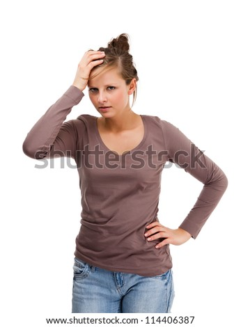 Depressed young attractive woman isolated on white background - stock photo