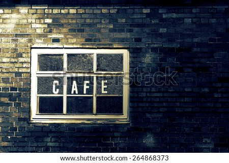 Depression And Negativity, Brick Wall with Sign Cafe in Vintage Style - stock photo